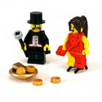 Lego people playing with money